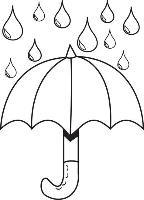 coloring page of umbrella free printable umbrella with raindrops spring coloring page