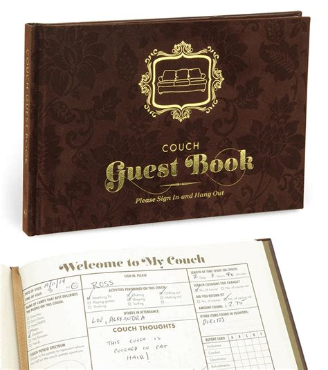 couch guest book  green head
