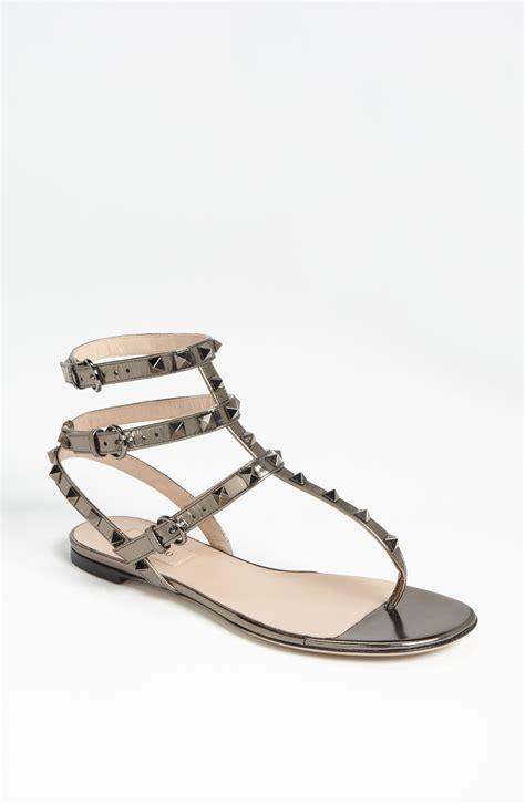 valentino rockstud sandals valentino rockstud flat sandal in silver bronze lyst