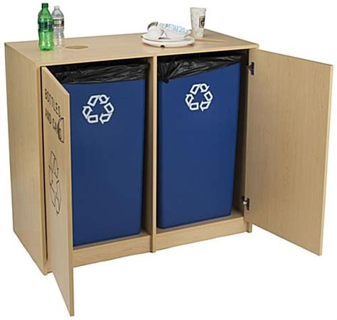 Recycling Cabinets Kitchen Indoor Recycling Cabinet Swing Open Doors