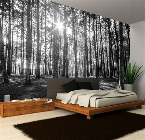 designing a wall mural black white sunny spring forest decorating wallpaper photo
