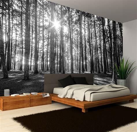 black and white mural wallpaper black white sunny spring forest decorating wallpaper photo