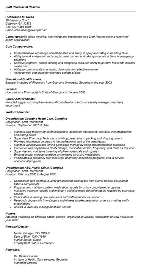 Pharmacist Resume Format by Resume Format Pharmacists And Resume On
