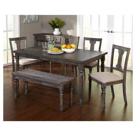 6 piece dining set with bench 6 piece burntwood dining set with bench weathered gray
