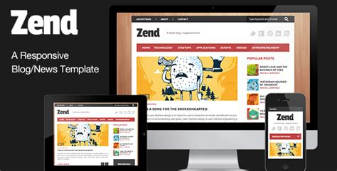 zend layout template zend responsive blog magazine html template by