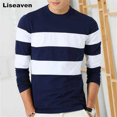 new autumn men s sleeve t shirt o neck striped t