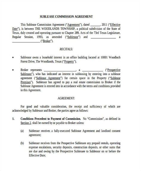 commission only contract template agreement forms in pdf