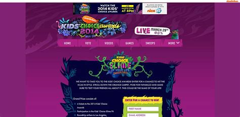 Nick Sweepstakes - nick com kcasweeps kids choice slime of your life sweepstakes