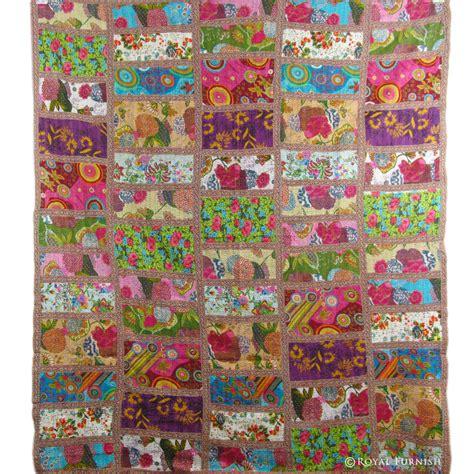 Kantha Patchwork Quilt - size multicolor patchwork kantha quilt blanket