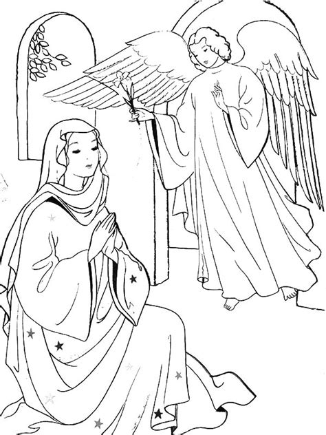 coloring page of angel visiting mary angel appears to mary coloring page sunday school