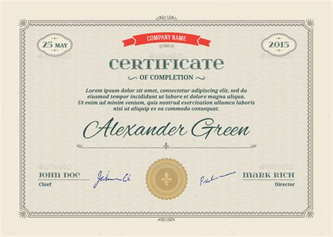 templates for certificates psd certificate template psd eps print ready by graphic