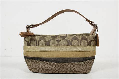 Tas Coach Polgan Brown Stripe Original coach brown beige signature c striped small handbag purse ebay