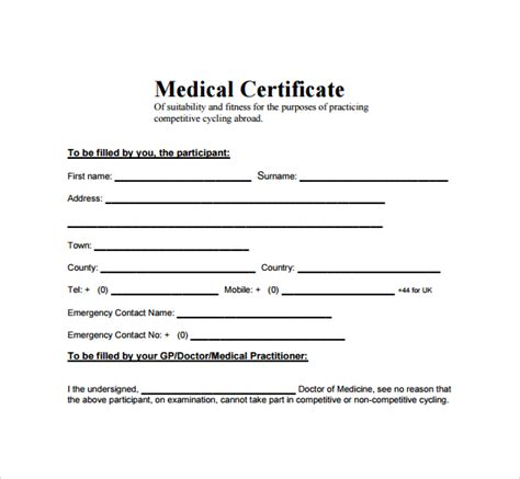 free medical certificate templates word images certificate