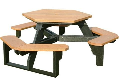 open hexagon recycled plastic picnic table commercial