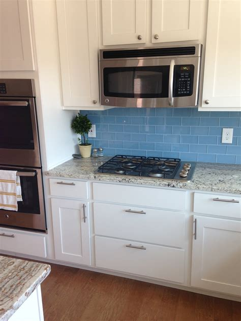 blue tile kitchen backsplash sky blue glass subway tile backsplash in modern white