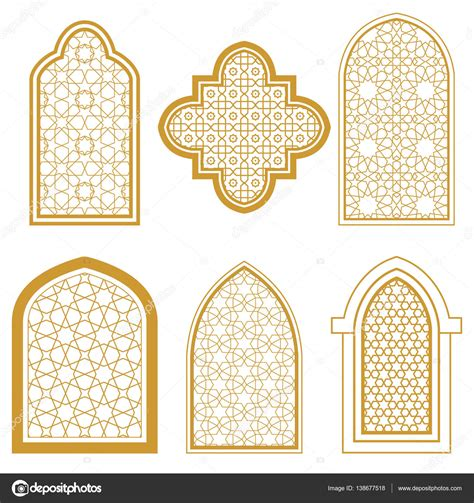 islamic pattern windows set of islamic window stock vector 169 irmairma 138677518