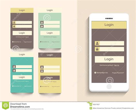 web layout for mobile concept of mobile user interface with login layout stock