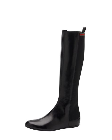 gucci pontaven flat boot in black lyst