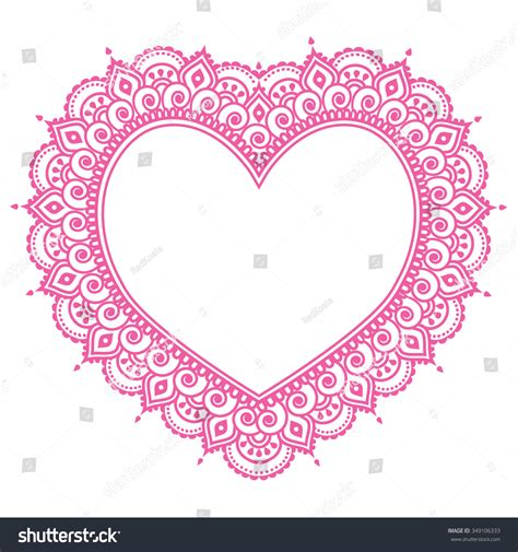 love heart henna tattoo mehndi pink design indian henna stock vector