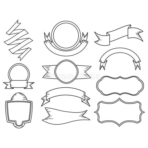 doodle ribbon vector free set of doodle ribbon banner stock vector illustration of