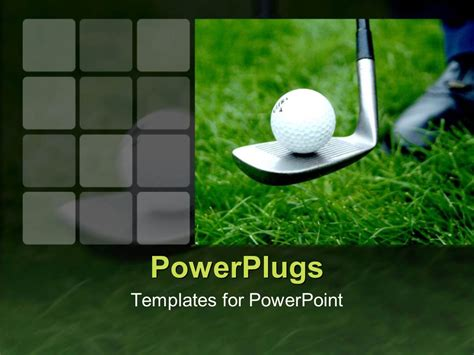 Powerpoint Template Close Up Of Golf Ball On Golf Club On Green Grass 14593 Golf Powerpoint Template