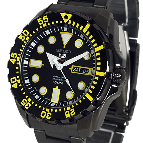 Seiko 5 Sports Srp745k1 Yellow Stainless Steel Bracelet Jam seiko 5 sports auto ion s steel black and yellow srp607j1