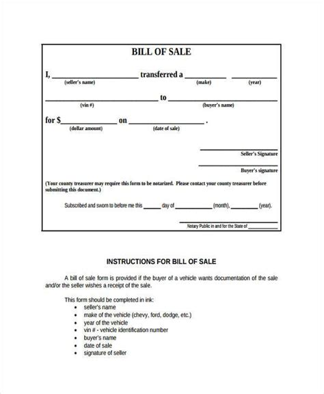 blank bill of sale form sle real estate bill of sale forms 7 free documents
