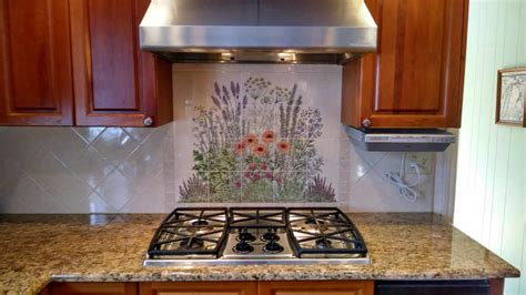 hand painted tiles for kitchen backsplash hand painted tile backsplash flowers cabinet hardware