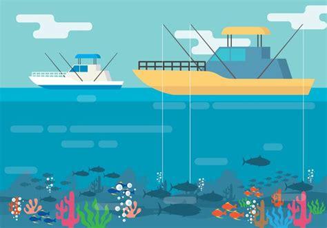deep sea fishing boat vector deep sea fishing illustration download free vector art