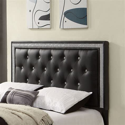 Upholstered Black Headboard with Upholstered Tufted Headboard Faux Leather Button Black Modern Bedroom New Ebay