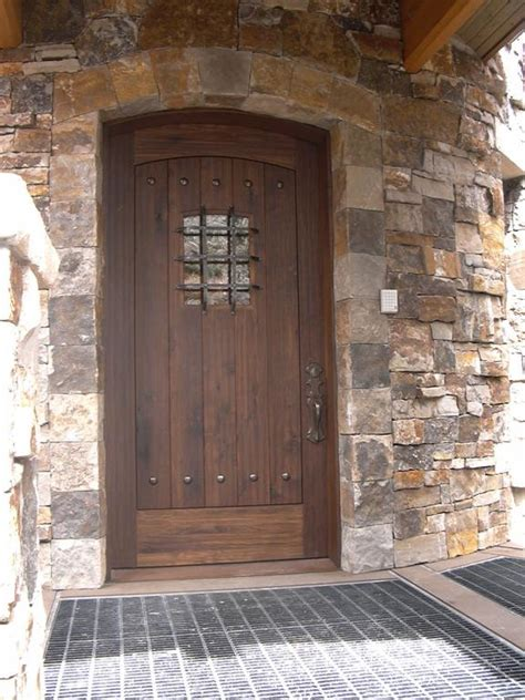 Rustic Front Door Rustic Entrance Doors Description Rustic Walnut Entry Door With Black Clavos Door Is Arch