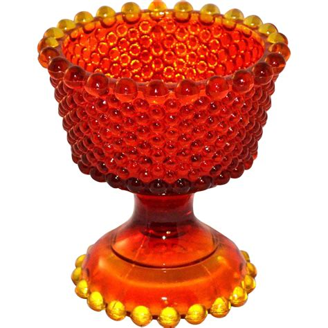 Compote Vase by Amberina Orange Hobnail Glass Compote Vase From