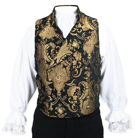 gold pattern waistcoat cavalier vest black gold tapestry