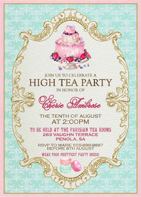 high tea invitation template invitation templates j9tztmxz