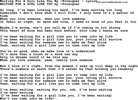 love songs girl love song lyrics for waiting for a girl like you by foreigner