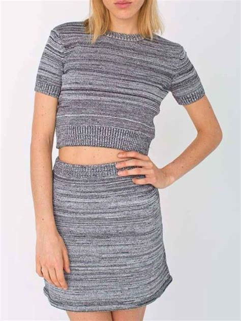 Knit Top A Line Skirt gray stripe sleeve knit crop top and a line skirt