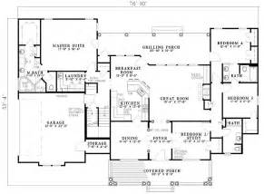 Southern Floor Plans by 2500 Sq Ft One Level 4 Bedroom House Plans First Floor
