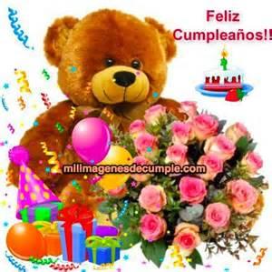 imagenes feliz cumpleaños con flores imagenes de cumplea 241 os con osito regalos y flores feliz