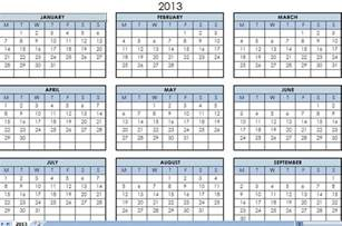 Excel Calendar Template 2013 by 2013 Printable One Page Calendar Yearly Excel Template