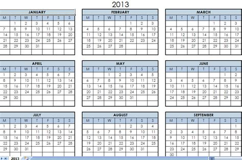 2013 printable one page calendar yearly excel template