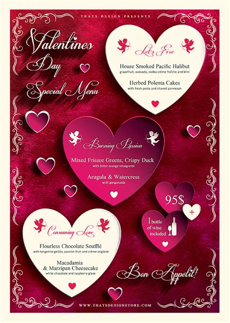 valentines menu template valentines day flyer and menu template psd design