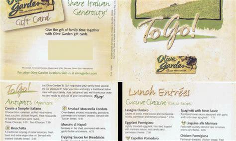 Olive Garden To Go Menu by Olive Garden To Go Menu