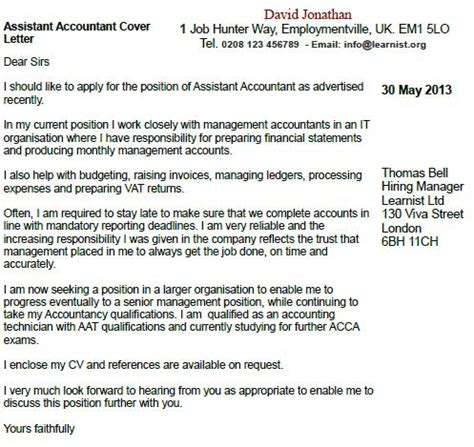 assistant accountant cover letter exle forums