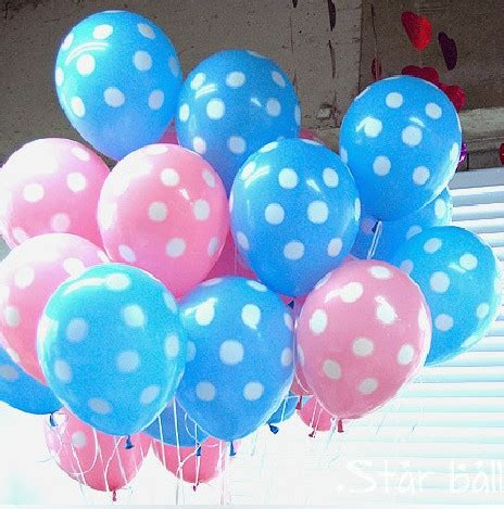 free shipping 4 11 quot pink and blue polka dot with white dotted set of decorating balloons