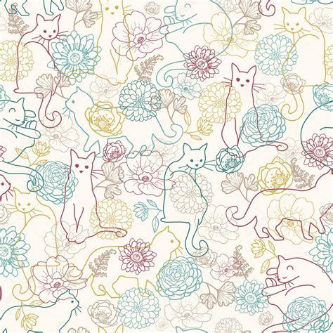 pattern cat background gatos entre fondo transparente de flores vector stock