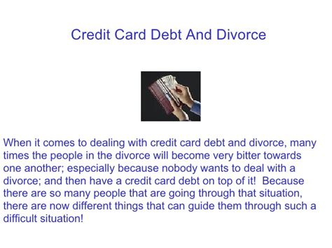Divorce And Credit by How To Deal With Credit Card Debt And Divorce
