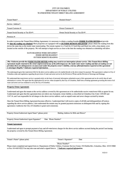 Fillable Water Sewer Tenant Direct Billing Agreement Printable Pdf Download Direct Billing Form Template