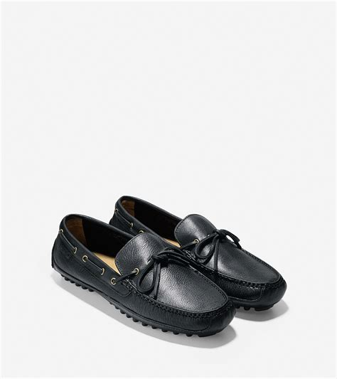 cole haan driving shoes cole haan grant leather driver shoes in black for lyst