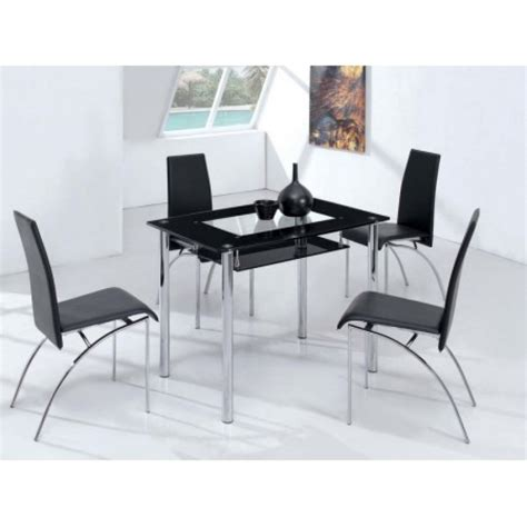 M S Dining Table Small Compact Glass Dining Table With 4 D211 Chairs Black B M Dining Table And Chairs B M Dining