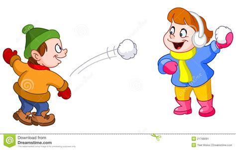 clipart bimbi bambini che giocano con la neve illustrazione vettoriale
